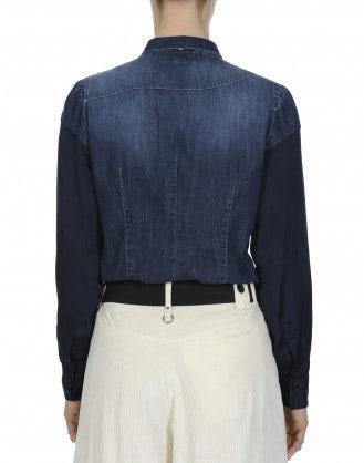 WISDOM: Camicia in chambray di cotone scuro e cupro