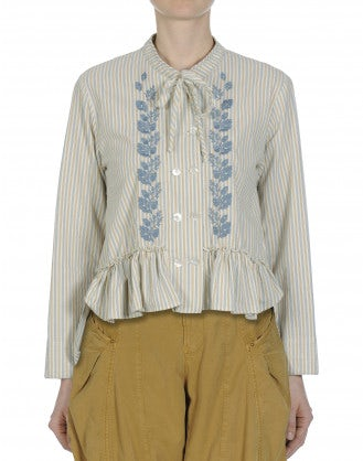LIKEWISE: Double breasted striped shirt with floral border