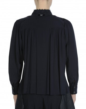 MEMORY: Tie neck shirt in navy rayon and ribbon lace <br /><br />