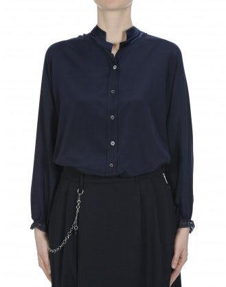 ARIA: Top dal taglio ampio in raso di seta blu navy