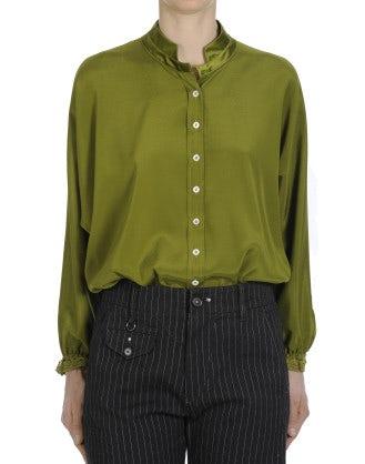 ARIA: Top dal taglio ampio in raso di seta verde salvia