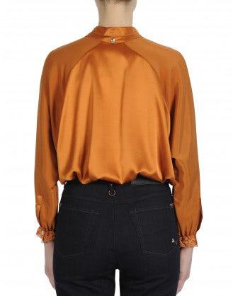ARIA: Top dal taglio ampio in raso di seta arancione