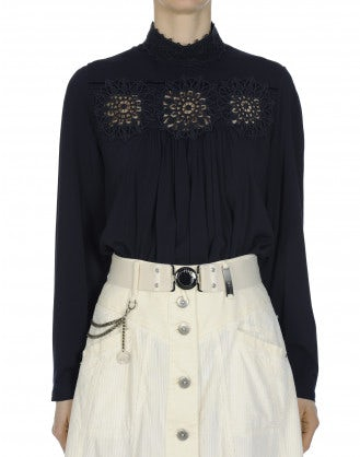 DELIGHFUL: High collar shirt in navy rayon and lace