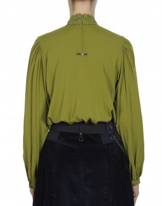 DELIGHFUL: High collar shirt in sage green rayon and lace