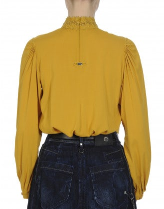 DELIGHFUL: High collar shirt in saffron rayon and lace