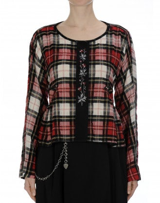 WISHING: Wide cut top in soft black and red check flannel