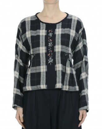 WISHING: Wide cut top in soft navy and white check flannel