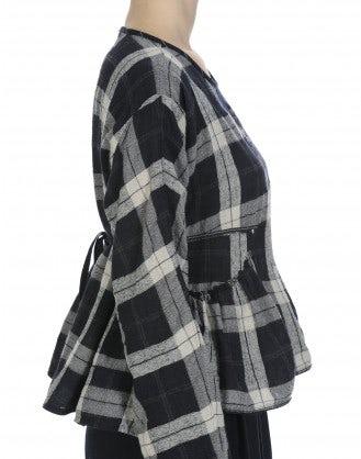 WISHING: Top dal taglio ampio in flanella scozzese blu e bianca