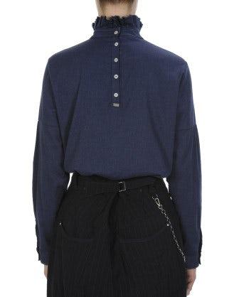 PROLOGUE: Camicia a collo alto con balza in twill di cotone spazzolato