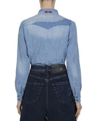 WISDOM: Camicia sfumata in chambray di cotone chiaro