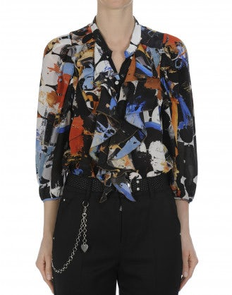 BOURGEOIS: Ruffle front shirt in black and multi colour print silk