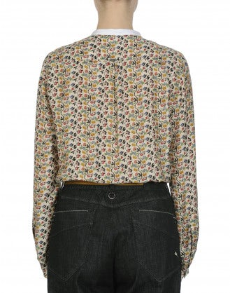 COMBO: Soft shirt in mini multi-colour floral with white collar