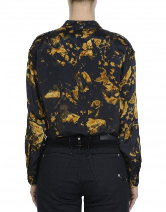 TACTFUL: Uniform style shirt in navy and gold camo and floral print
