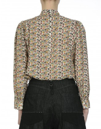 GLIMPSE: Multi-colour mini-floral shirt with lace and frill front
