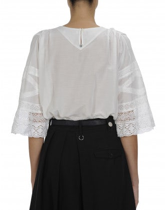 AWAKE: Ivory pin-tuck front top