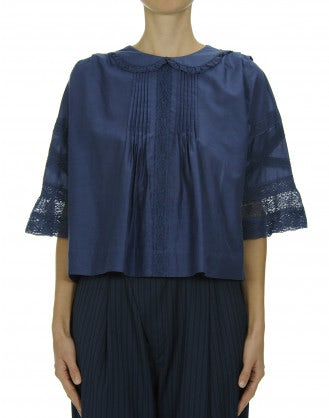 AWAKE: Blue pin-tuck front top