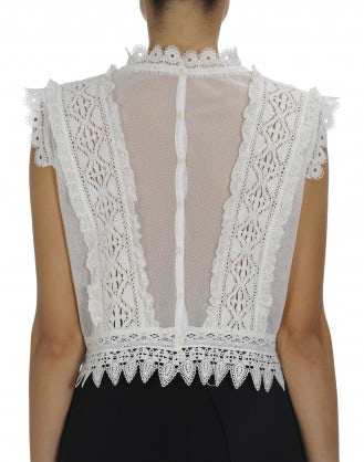 LUST-FOR: Sleeveless top in ribbon lace and mesh
