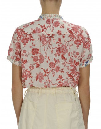 CHEERIO: Double floral print short sleeve shirt