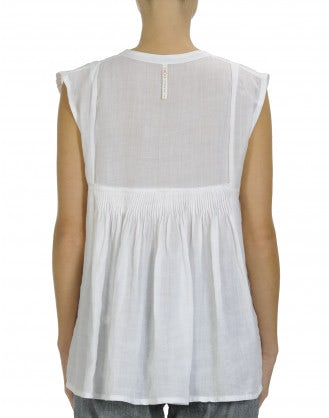 SECRET: Round neck top with tuck pleating