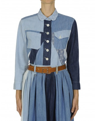 PROVOKE: Patchwork denim and chambray shirt