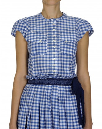 PERSIST: Cap sleeve blue and white gingham shirt