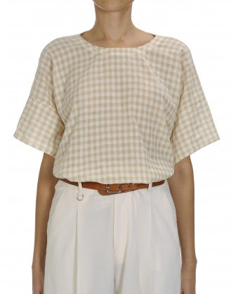 APPROVE: Beige and white gingham check top