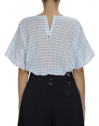 APPROVE: Blue white gingham check top