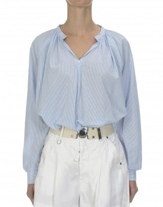 WITNESS: Blue and white ticking stripe shirt