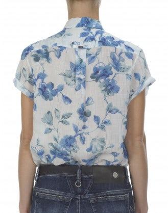 FLORA: Camicia con stampa blu e azzurra