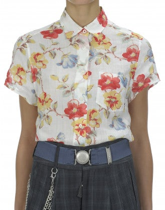 FLORA: Camicia con stampa rossa, gialla e azzurra