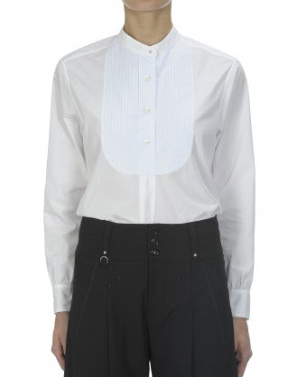 VOTIVE: White striped bib front shirt