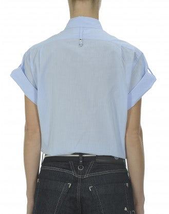 FRESH: Roll-back sleeve blue cotton shirt
