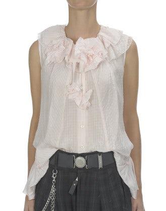 ENJOY: Tie-dye pink rosette trimmed silk shirt