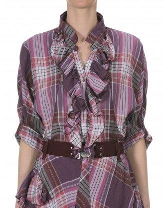 BONNIE: Blusa scozzese con balze frontali