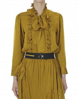 FOP: Mustard tie neck blouse with ruffles