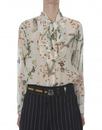 ASCOT: Berries and bird silk bow-tie shirt