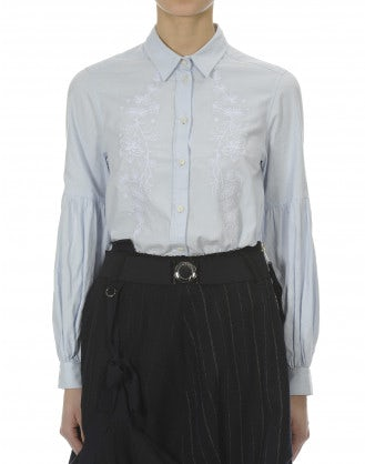 SYLUAN: Pale blue floral embroidery cotton shirt