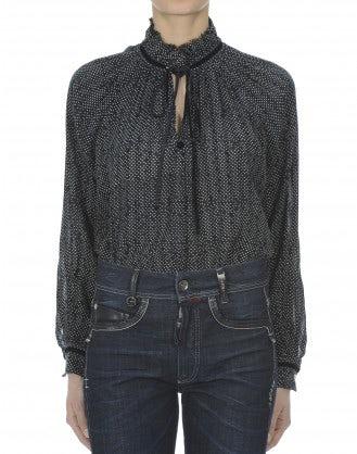LEHAR: Blusa blu navy con pois bianchi con rouches sul colletto