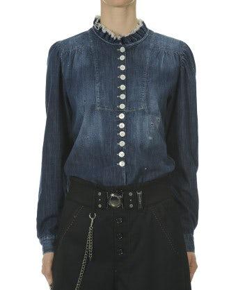 GRACE: Camicia in denim con colletto a balza