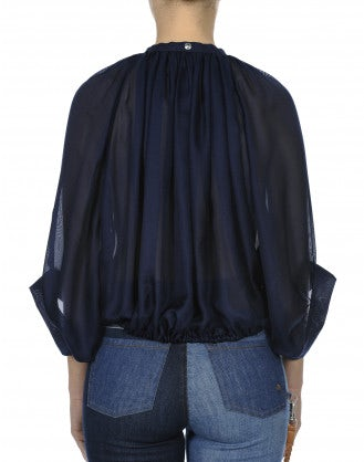 SIMILE: Very full navy silk gauze shirt with gathered neck