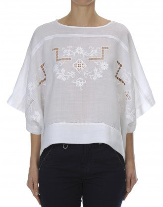 "SHY: Embroidered ""poncho"" style top"