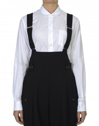 DEVOTE: Camicia bianca in cotone con colletto stondato
