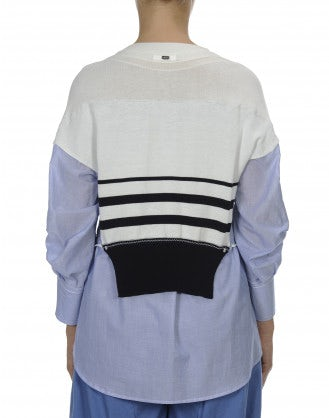 KICKBACK: Knit and woven cotton stripe top