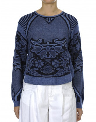 APPLAUD: Top in maglia blu navy e blu con motivo floreale e rigato