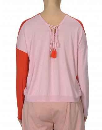 INTERLACE: Maglia bicolore con allacciatura posteriore, blu rosa e rosso