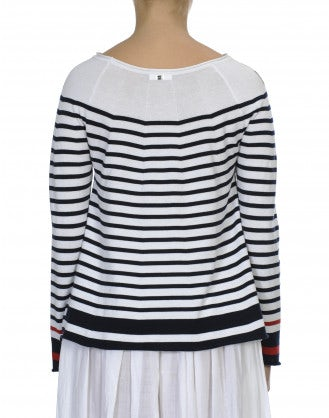 ELEVATE: Navy and white with red stripe cotton knit sweater