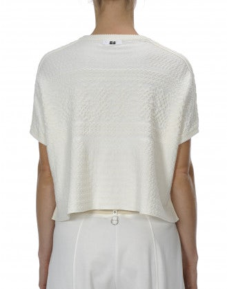 BLISS: Short sleeve wide body cropped sweater