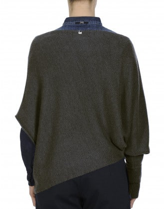 TEMPER: Asymmetric sleeve sweater in pure cashmere
