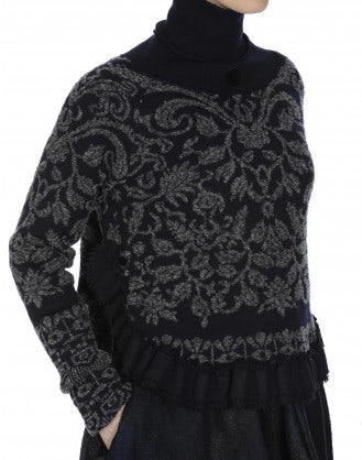 BRANCH-OUT: Grey and navy roll neck sweater with grey stylised floral