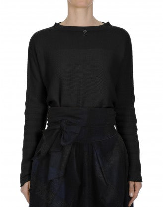 SUBTLE: Reverse buttoning sweater in black cashmere